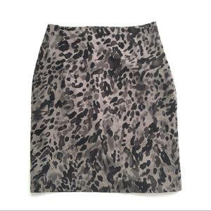 Ann Taylor Leopard Print Stretch Silk Skirt Sz 2